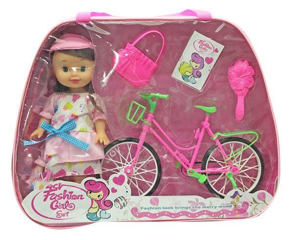 Imagen de Muñeca Con Bicicleta Y Accesorios En Valija