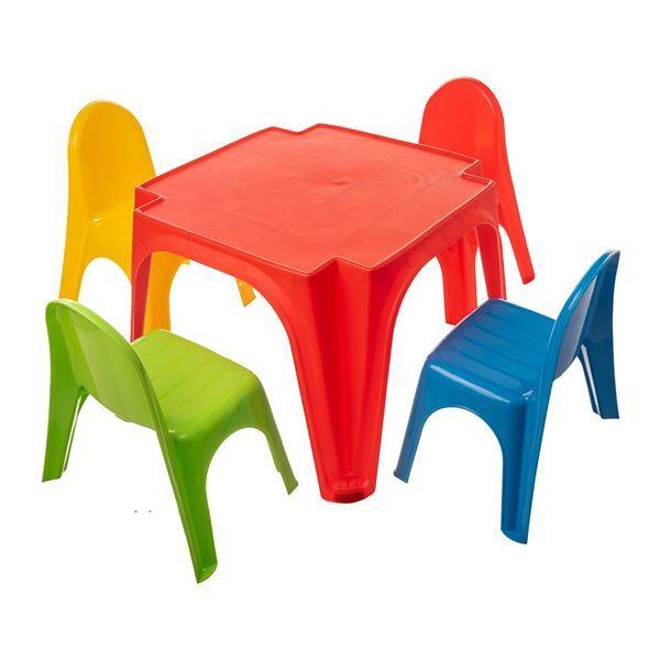 Imagen de Mesa +4 Sillas Plástico Colores STARPLAY