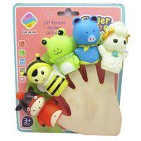 Imagen de Títeres de dedo, 5 animales de goma, en cartón
