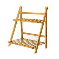 Imagen de Mueble, estantería de madera, 2 estantes con guantes y herramientas jardín