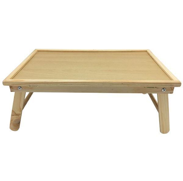 Imagen de Bandeja de cama, de madera, con patas plegables, tabla reclinable ideal para usar la computadora o libros