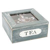 Imagen de Caja para té de madera y vidrio, 4 reparticiones, con diseño