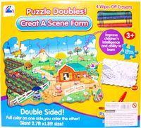 Imagen de Puzzle doble faz para pintar 50 piezas, con crayolas, en caja