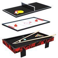 Imagen de Mesa de pool, con tejo y mini pong para mesa 3en1,con accesorios, de MDF, en caja