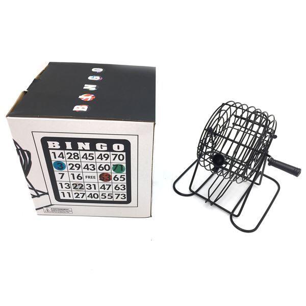 Imagen de Bingo bolillero de metal, con cartones y marcadores, en caja