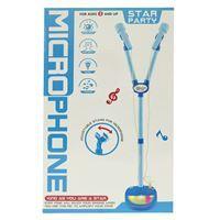 Imagen de Micrófono con pie, doble, con luz, CELESTE, 3AA, en caja