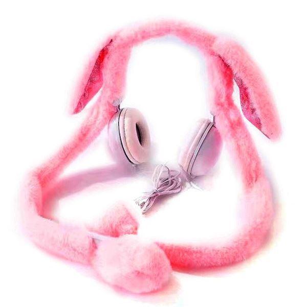 Imagen de Auricular vincha orejas de peluche ROSADO OSCURO,con luces y movimiento de las orejas