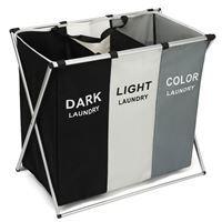 Imagen de Cesto de ropa plegable,3 canastos, bolsillos exteriores, en caja