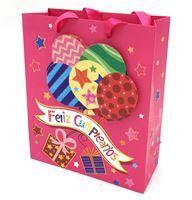 Imagen de Bolsa de regalo con diseño Feliz cumpleaños en 3D, asas de cinta satinada, PACK x12, varios diseños
