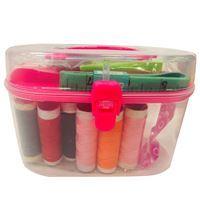 Imagen de Hilos x8 varios colores con accesorios para costura, en valija de plástico