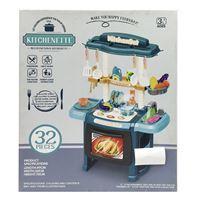 Imagen de Electrodomésticos cocina con estantes, pileta con luz y sonido 3AA, 32 piezas en caja