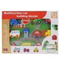 Imagen de Blocks de madera, 12 vehículos para enhebrar, en caja