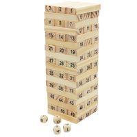 Imagen de Torre para armar, 54 fichas de madera y 4 dados, en caja